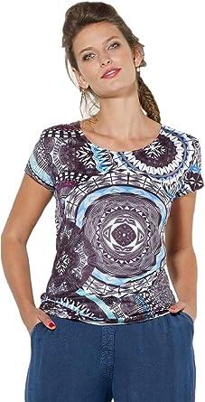Camiseta elástica Colorida y Femenina.Mandala Impreso ...
