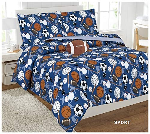 8 Piece Full Size Kids Boys Teens Comforter Set Bed in Bag w/Shams, Sheet Set & Decorative Toy Pillow, Sports Balls Volleyball Print Blue Comforter Bedding Set w/Sheets, Full 8pc Sports