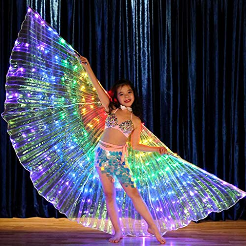 CapsA Belly Dance LED Angel Wings with Flexible Sticks Wings Glow Light Up Belly Dance Costumes Performance Clothing Carnival Wings for Carnival Stage Halloween Christmas Party (A (No Sticks)) -