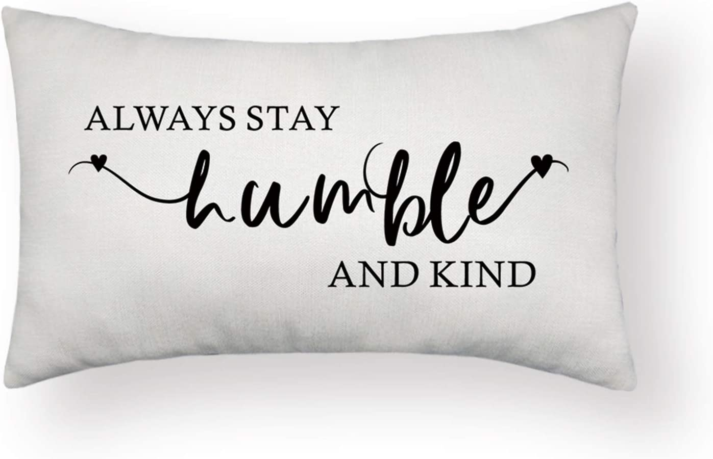 HOMANGA Farmhouse Pillow Covers, Always Stay Humble and Kind Quotes Throw Pillow Covers, 12x20 Inch for Family Home Decor, Decorative Rustic Style Throw Pillow Cases