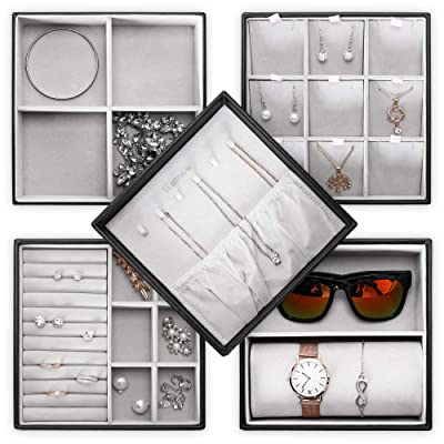 Buy Homde Jewelry Tray Set of 5 Stackable Jewelry Organizer with Lid for  Drawer Display Storage Box for Watch, Sunglasses, Necklace, Bracelet, Ring  and Earrings Online in Indonesia. B08792BZVW