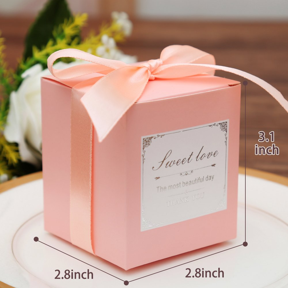 Amazon.com: Doris Home 50 pcs Pink Birthday Wedding Favor Candy ...