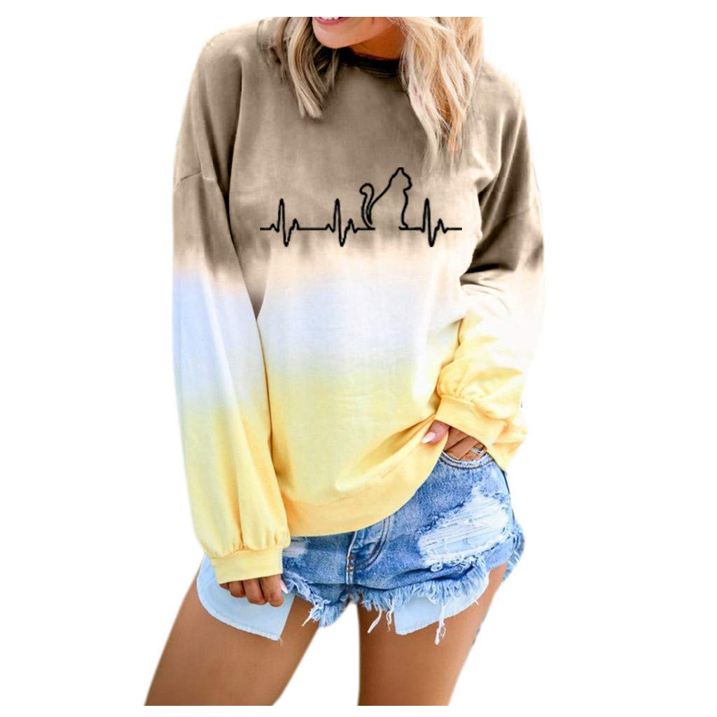 ✔ Hypothesis_X ☎ Women's Gradient Cat Printed Long Sleeve Top Round Neck Casual Loose Pullover Sweatshirt Khaki by ✔ Hypothesis_X ☎ Top