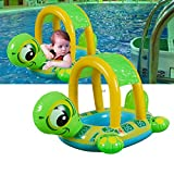 Baby Swim Ring Pool Float - Wishtime Inflatable Infant Swiming Ring with Sun Canopy Baby Safe Sit with Sunshade for Swim Training Suitable for 6-48M (Green Tortoise)