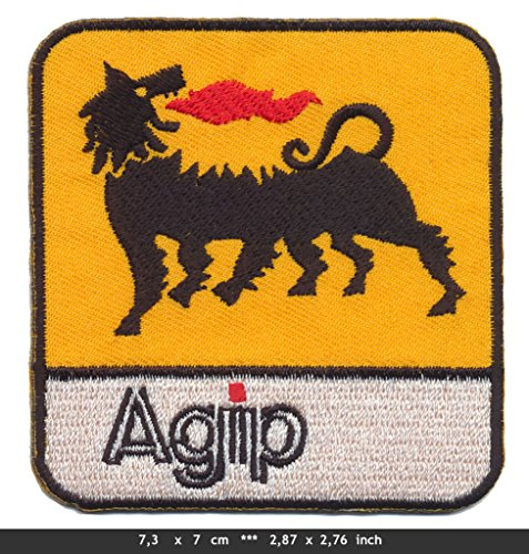 agip-iron-sew-on-cotton-patch-racing-motor-oil-formula-1-f1-yellow-white-by-rsps-embroidery-n-decals