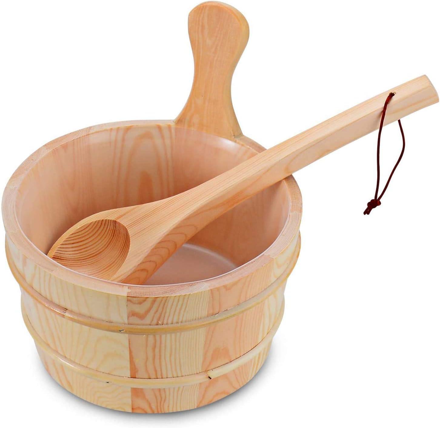 BESTNEWIE Wooden Sauna Bucket and Ladle Handmade Sauna and Spa Accessory - Wooden Sauna Bucket 4 Liter (1 Gallon) …