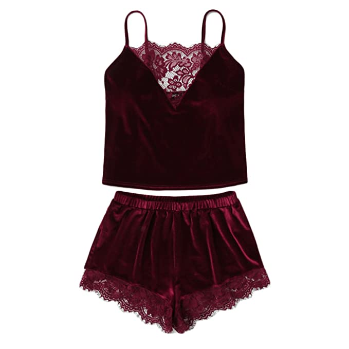 7e2df9f03a1c Lace Trim Velvet Cami   Shorts Pajamas Set Women Burgundy Plain Spaghetti  Strap Sleeveless Sleepwear at Amazon Women s Clothing store
