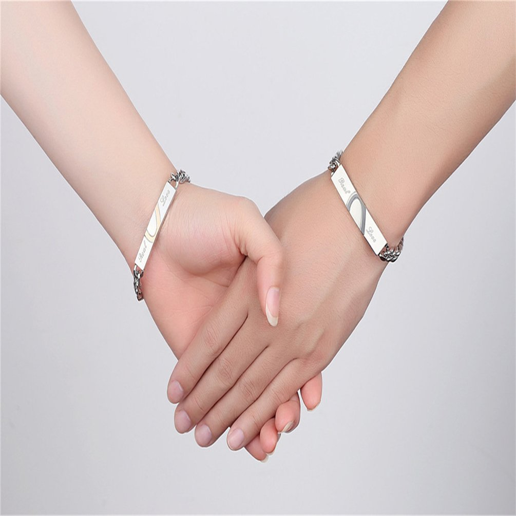 XIAOLI Real Love Stainless Steel Couple Bracelets For Women Men Jewelry Matching Set (Style 1) by XIAOLI (Image #6)