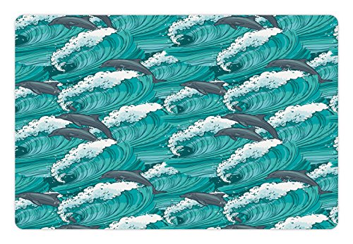 (Ambesonne Pet Mat for Food and Water, Rectangle Non-Slip Rubber Mat for Dogs and Cats, Wavy Ocean with Dolphins Windy Surfing Doodle Style Art Print, Charcoal Teal)