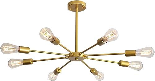XIPUDA 8-Light Sputnik Chandeliers Modern Pendant Light Fixture Brushed Brass Mid Century Ceiling Light for Home Office Store