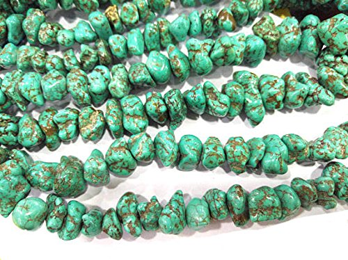 A+ 8X15mm Natural Turquoise Gemstone green&brown Chips Nuggets FreeForm Turquoise Beads strand 16inch