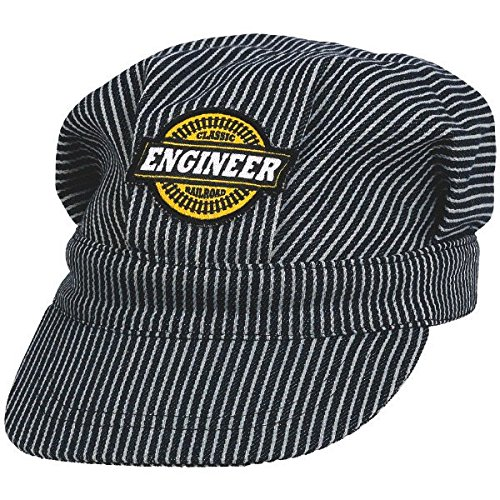Deluxe Thomas And Engineer Costumes (Railroad Themed Party Engineer Deluxe Hat Accessory, Black and White, Fabric , 5