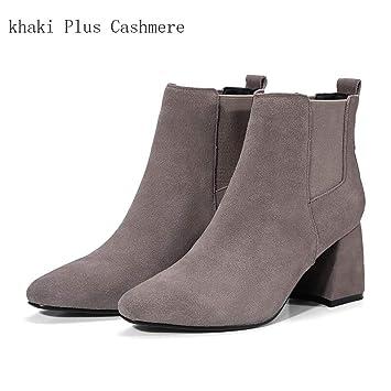Hy Zapatos de Mujer 2018 Nuevo otoño/Invierno Botines de Cuero con Comodidad elástica/