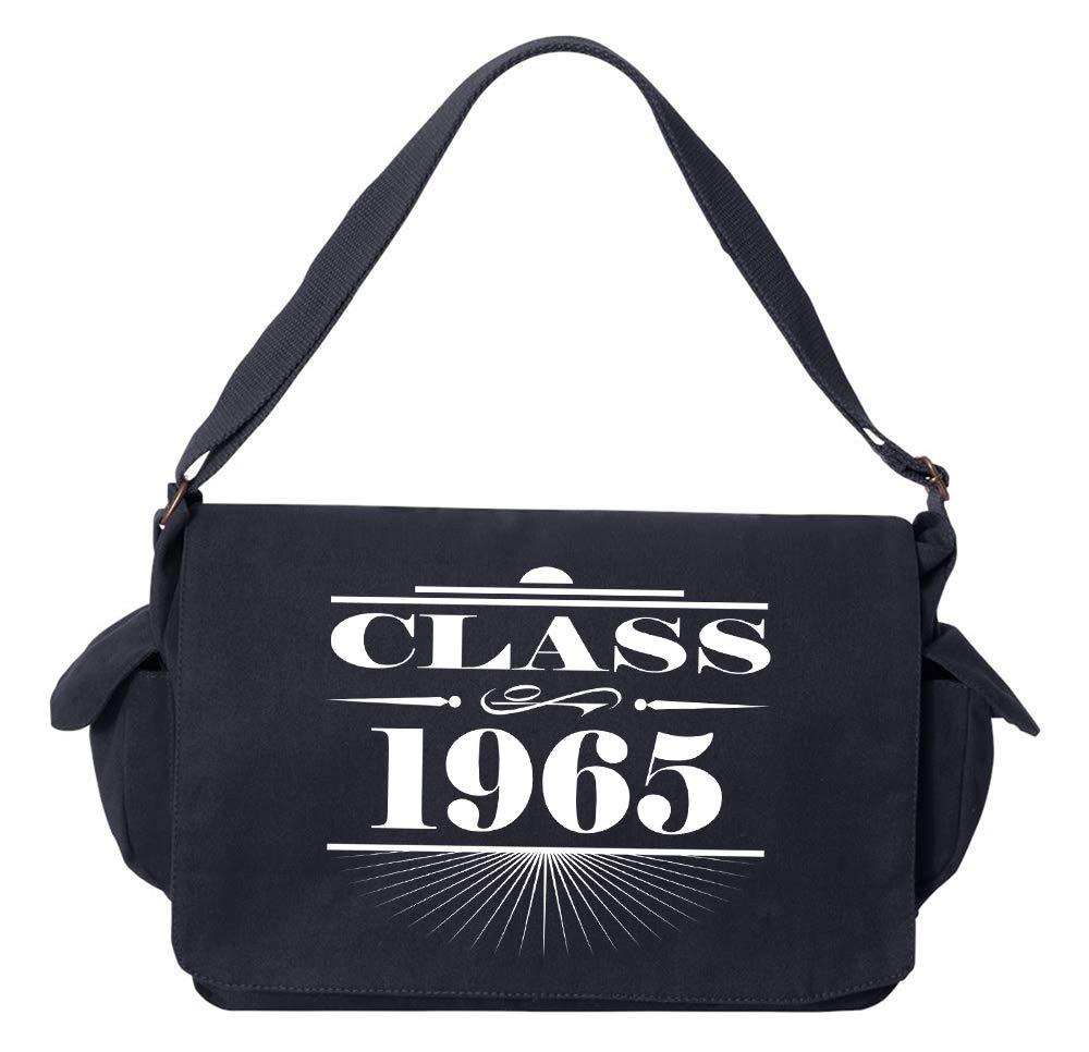 Tenacitee Art Deco Class of 1965 Flamingo Raw Edge Canvas Messenger Bag