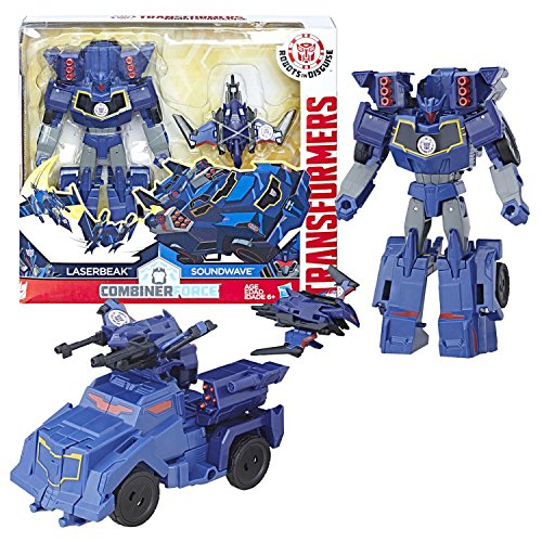 Year 2016 Transformer Robots in Disguise Combiner Force Activator Series 5-1/2 Inch Tall Figure Set - Soundwave (7 Step Changer) with LASERBEAK (1 Step Changer)