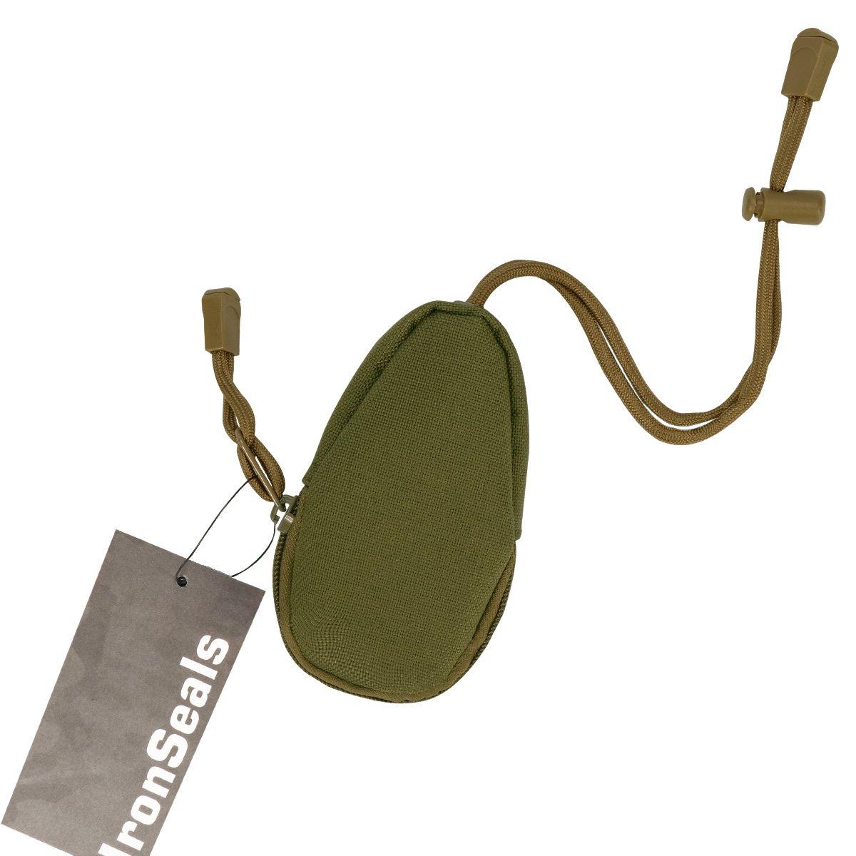 ironseals MiniアウトドアEDC Carryingバッグポータブルコイン財布変更財布キーポーチwith Innerステンレスキーリング B07CZFW3PV アーミーグリーン