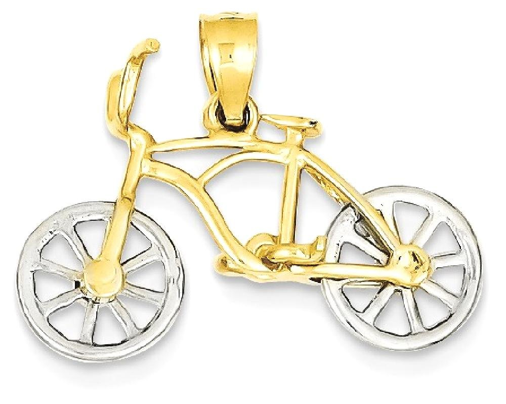 ICE CARATS 14k Yellow White Gold Moveable Bicycle Pendant Charm Necklace Travel Transportation Fine Jewelry Gift Set For Women Heart