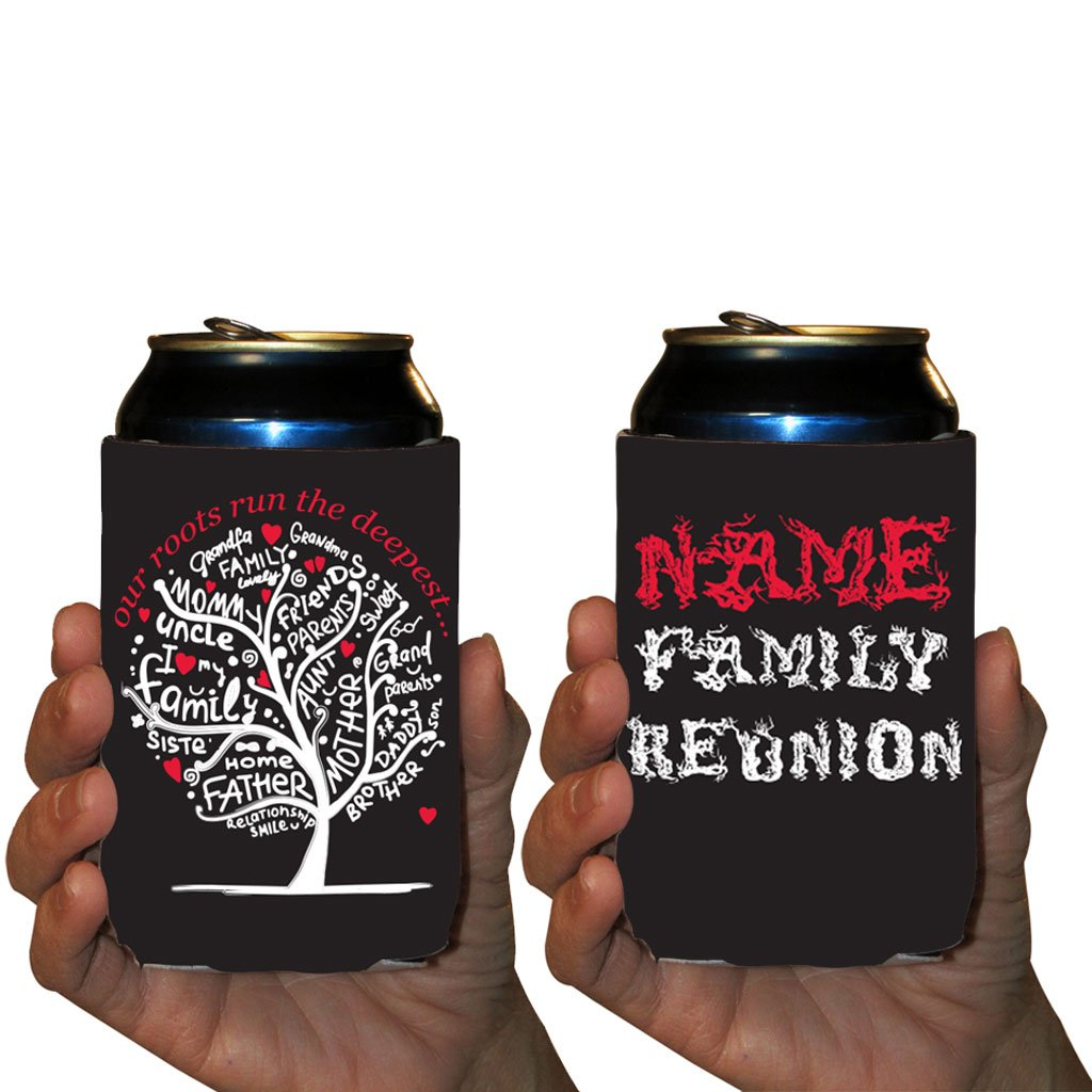 Custom Family Reunion Can Cooler Sleeves- Deep Roots Party Pack 12-16oz Can/Bottles Great For Family Reunion Parties (Set of 100) by VictoryStore