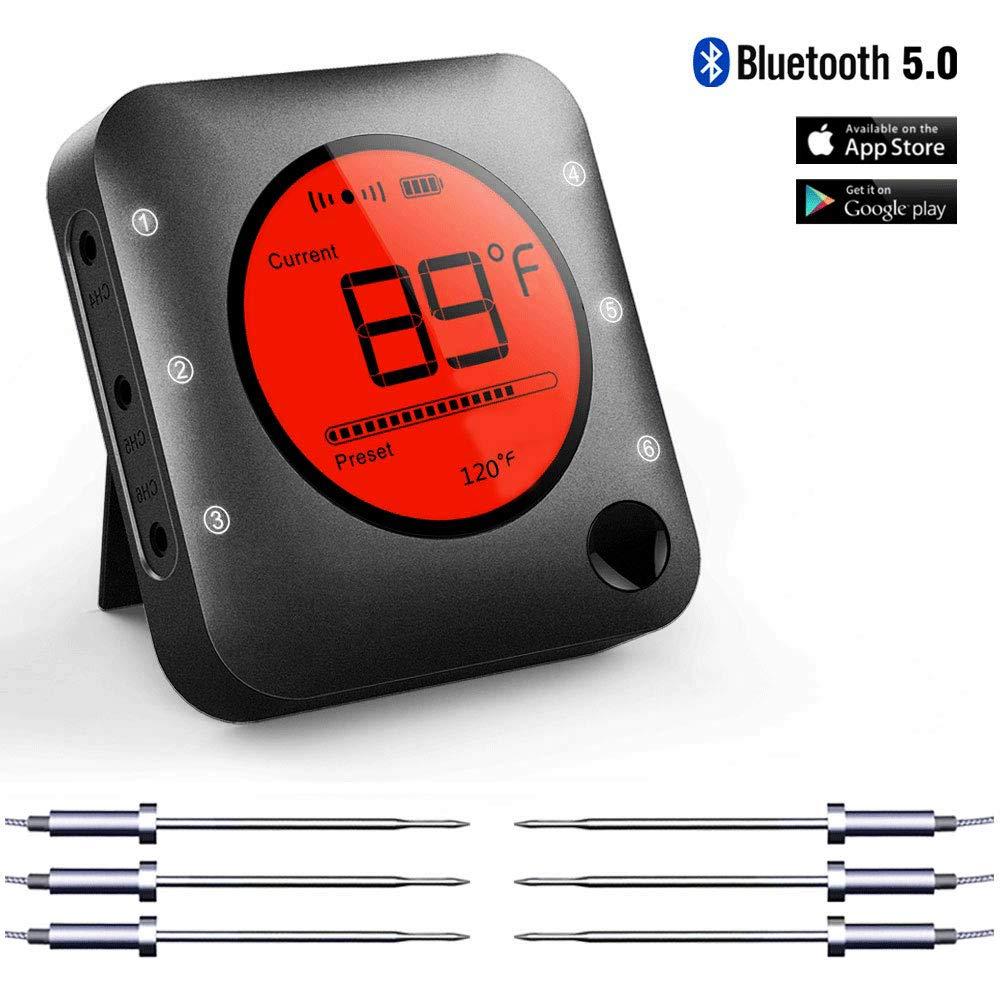 Bluetooth Meat Thermometer Smart Wireless Remote Digital BBQ Thermometer APP Controlled with 6 Stainless Steel Probes, Large LCD Display for Cooking Smoker Grilling Oven by Bfour