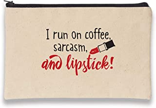 product image for Imagine Design Relatively Funny I Run On Coffee, Sarcasm, Canvas Bag, Red/Black/White