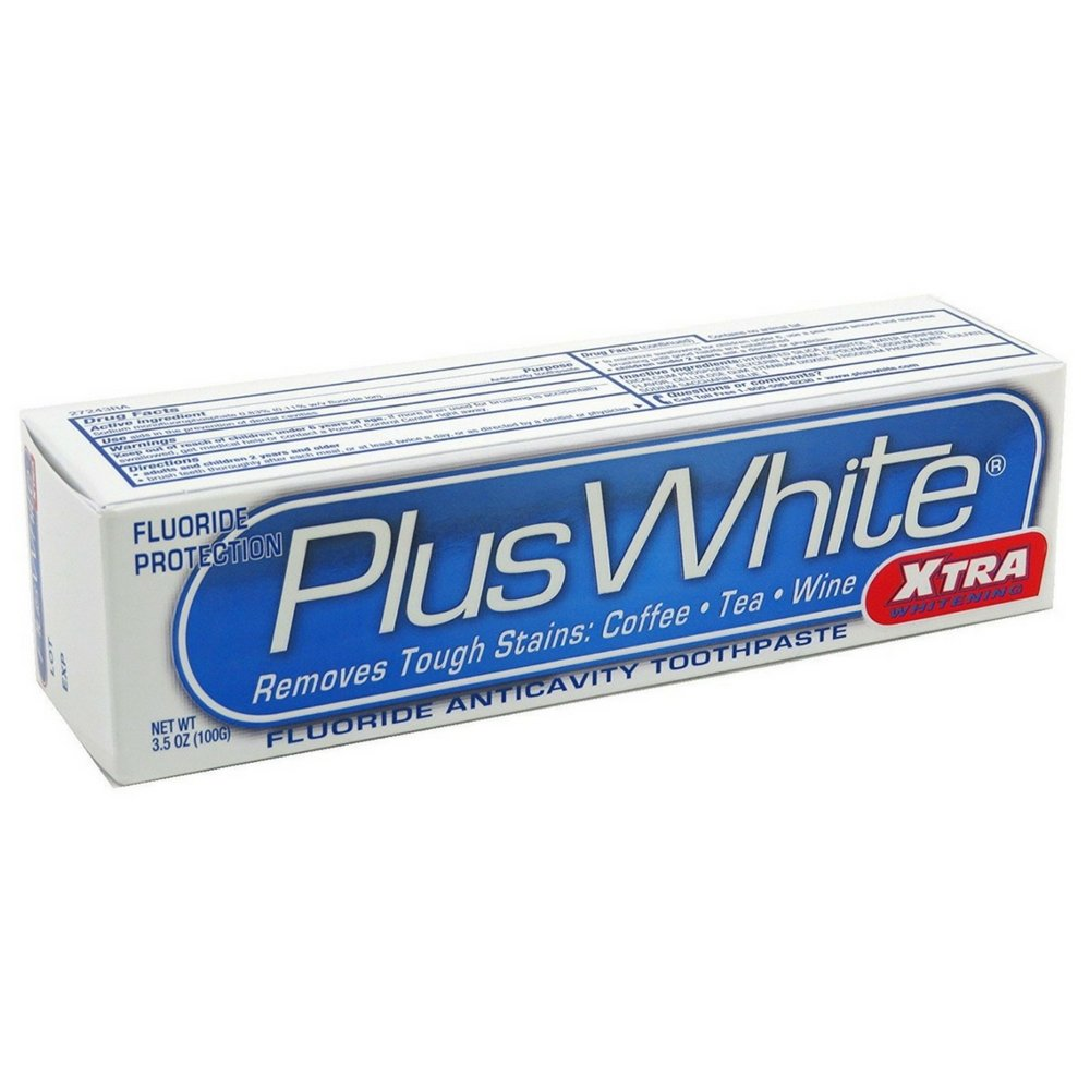 Plus White Whitening + Protection Toothpaste, Xtra Whitening Power Cool & Crisp Mint 3.50 oz (Pack of 9)