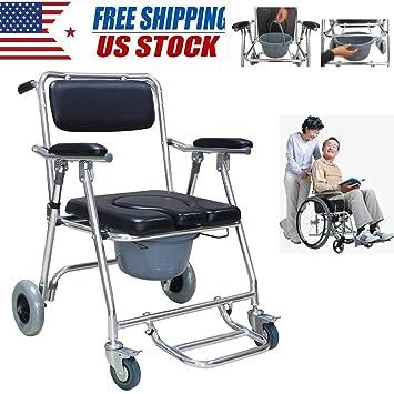 Amazon.com: Silla de ruedas con 2 frenos, ruedas y ...