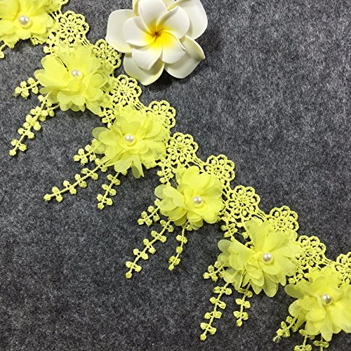 Yalulu 2 Yards 3D Chiffon Flowers Polyester Lace Trim Knitting Wedding Embroidered DIY Handmade Patchwork Ribbon Sewing Supplies Crafts (Yellow)