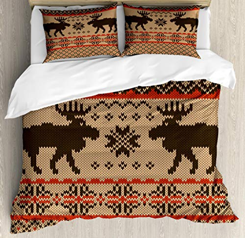 Cabin Decor Queen Size Duvet Cover Set by Ambesonne, Knitted