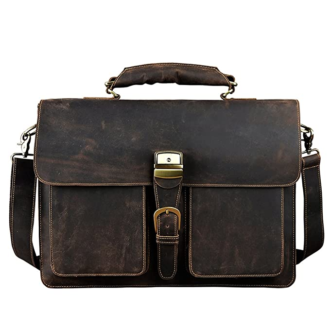 Genda 2Archer Mens Leather Flapover Messenger Business Briefcase