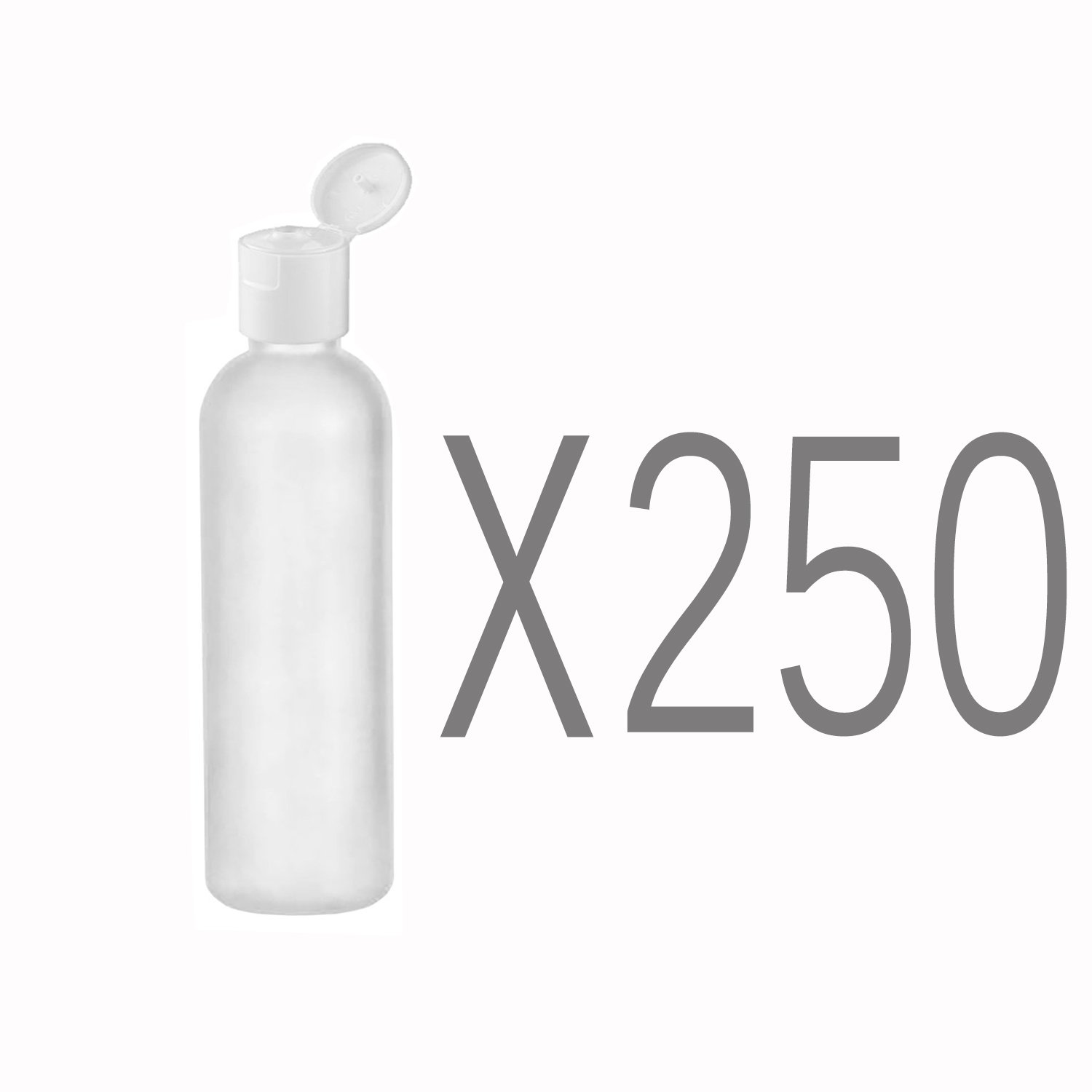 MoYo Natural Labs 2 oz Travel Bottles, TSA Approved Empty Travel Containers with Flip Caps, BPA Free HDPE Plastic Squeezable Toiletry/Cosmetic Bottles (Pack of 250, Translucent White)