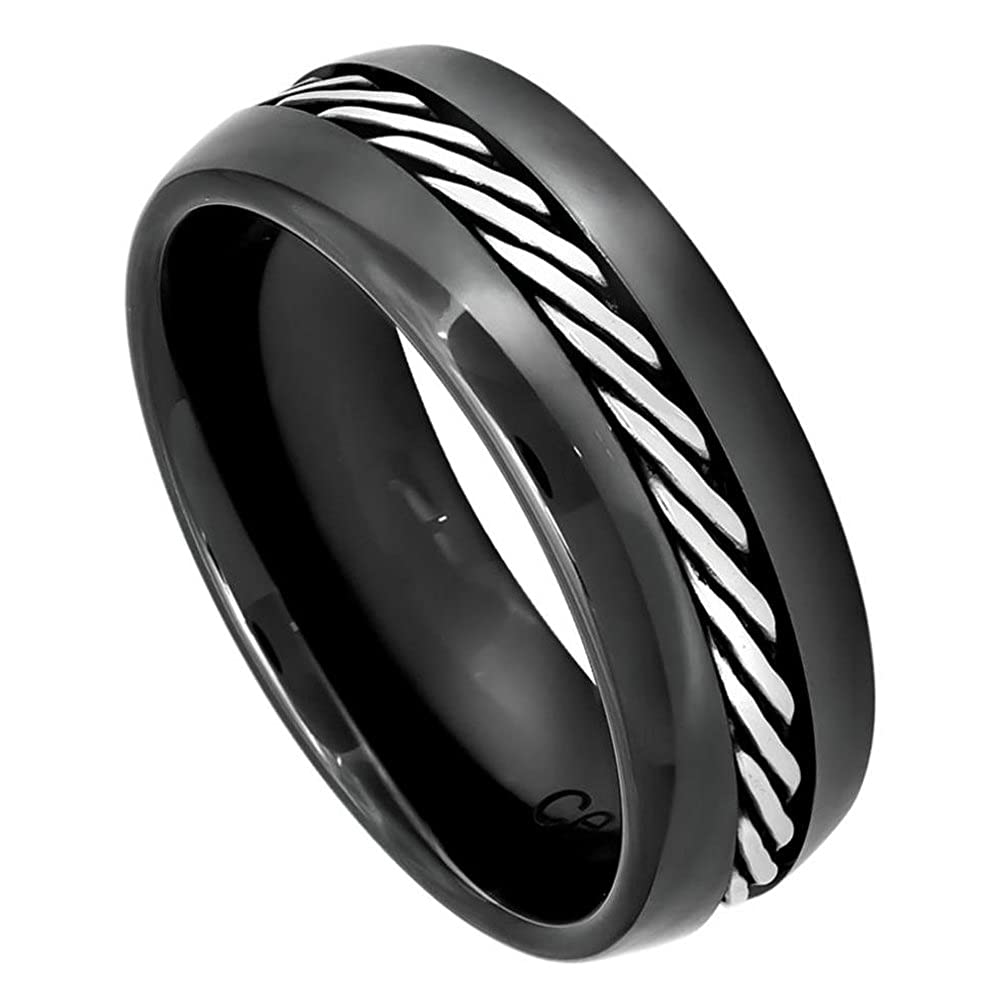 8mm Ceramic Domed Black with Single Rope Stainless Steel Inlay Wedding Band Ring For Men Or Ladies