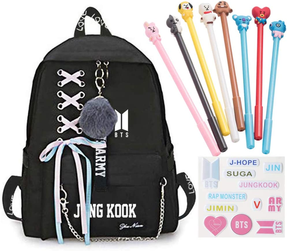 cadeau id/éal pour les enfants BTS 1 Goth Perhk 1 planche dautocollants BTS Sac /à dos Kpop BTS Bangtan Boys 8 stylos BTS