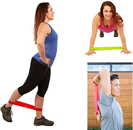 PTOUGE Resistance Loop Exercise Bands for Home Fitness Stretching Pilates Flexbands Strength Training Workout Bands Set of 5
