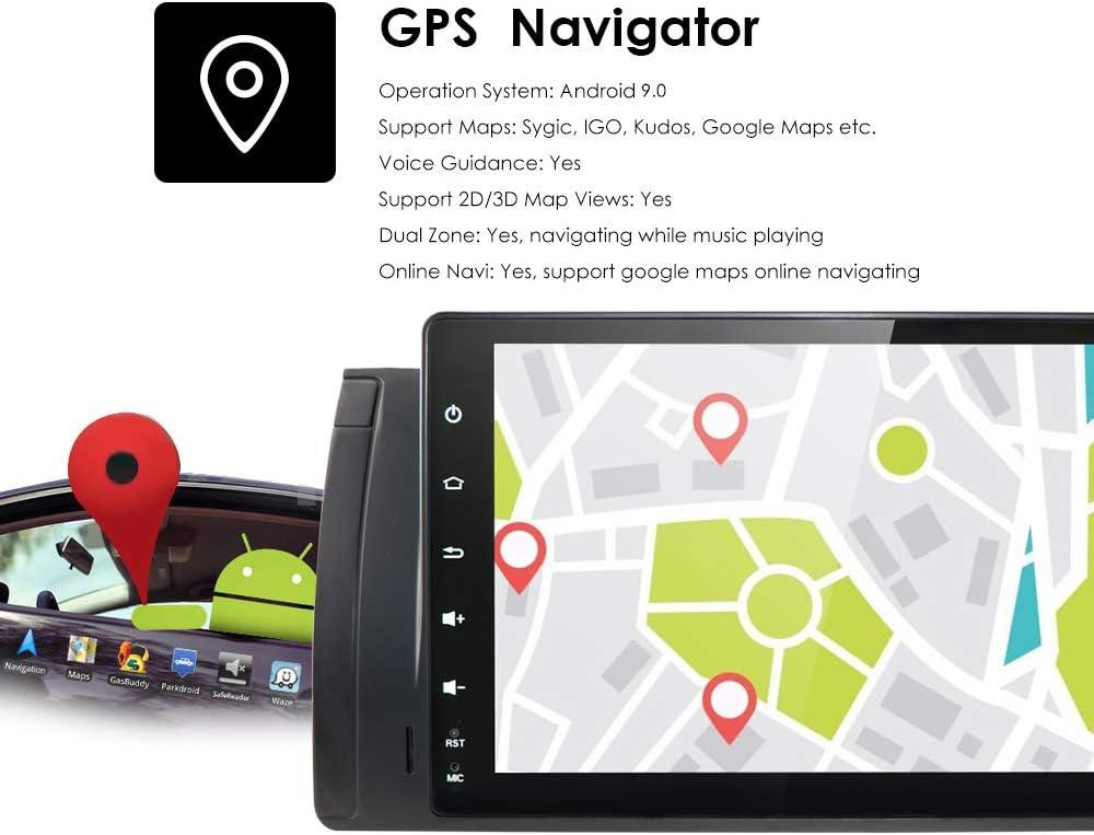 hizpo Autoradio GPS Navigation Android 9.0 OS 9 Zoll Touchscreen WiFi Bluetooth Fit f/ür BMW 5 E39 BMW X5 E53 BMW M5 BMW 7er