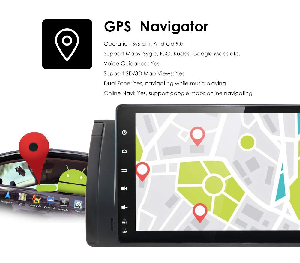 hizpo 9 Inch Android 9.0 Car Stereo Double Din Navigation Supports Bluetooth GPS DSP Steering Wheel Control WiFi Radio Fit for BMW