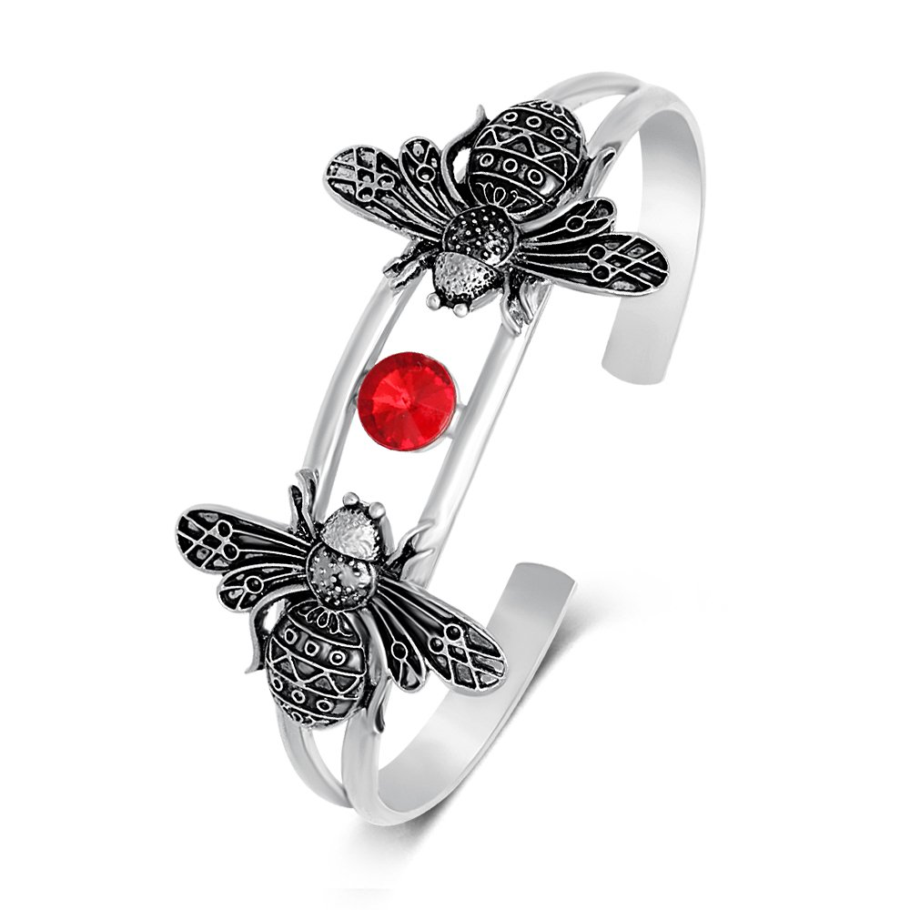 TUSHUO Bee Charm Bangle Bracelet with A Red Rhinestone Double Cuff Bangle for Women