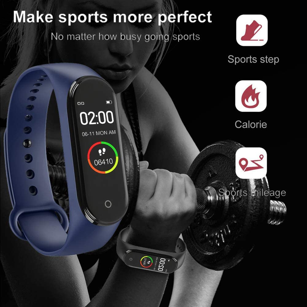 RHG M4 Fitness Tracker Watch, Braccialetto Sportivo Intelligente - 0.96 IPS Smart Watch con Display a Colori con frequenza cardiaca, contacalorie Blue waterproof