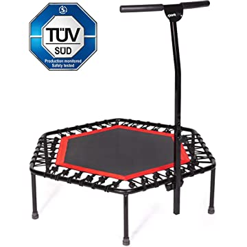 top best SportPlus Fitness Trampoline with Bar / OR Replacement Bungees – Indoor Rebounder Trampoline for Adults – Ideal for Cardio Workout