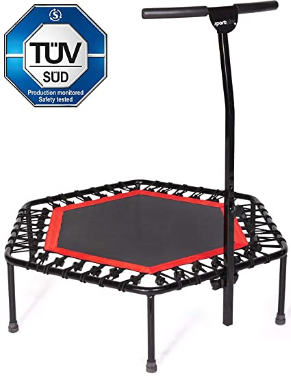 amazon com sportplus fitness trampoline with bar or replacementsportplus fitness trampoline with bar or replacement bungees \u2013 indoor rebounder trampoline for adults \u2013