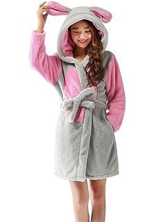 2c95b77346 LeaLac Women s Unisex Winter Christmas Animal Hooded Warm Bathrobe Pajamas  for Girls