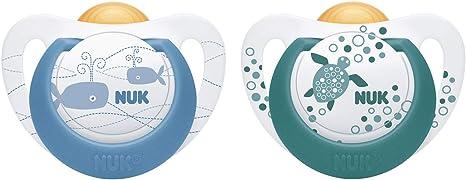 NUK Genius Color - Chupete de látex, con forma adecuada para la mandíbula, 6-18 meses, 2 unidades azul Azul (nuevo) Talla:0-6 meses: Amazon.es: Bebé