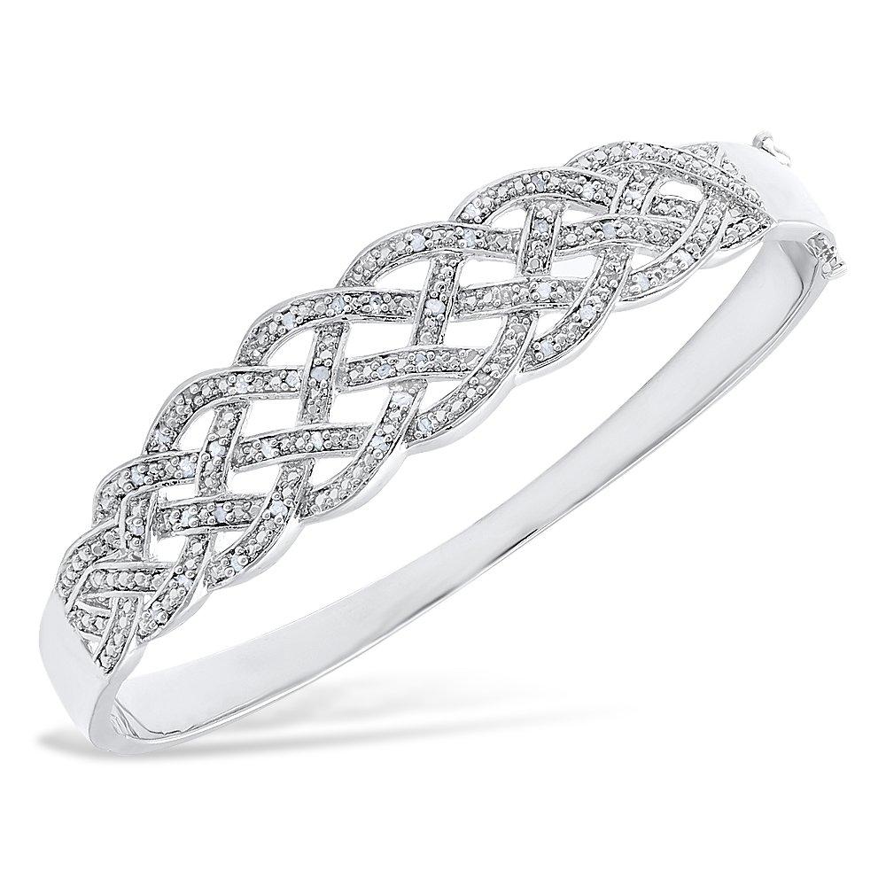 Jawa Fashion Women's 14K White Gold Finish 2.00 CT Diamond Braided Bangle 5-10 Inch (8 Inches)