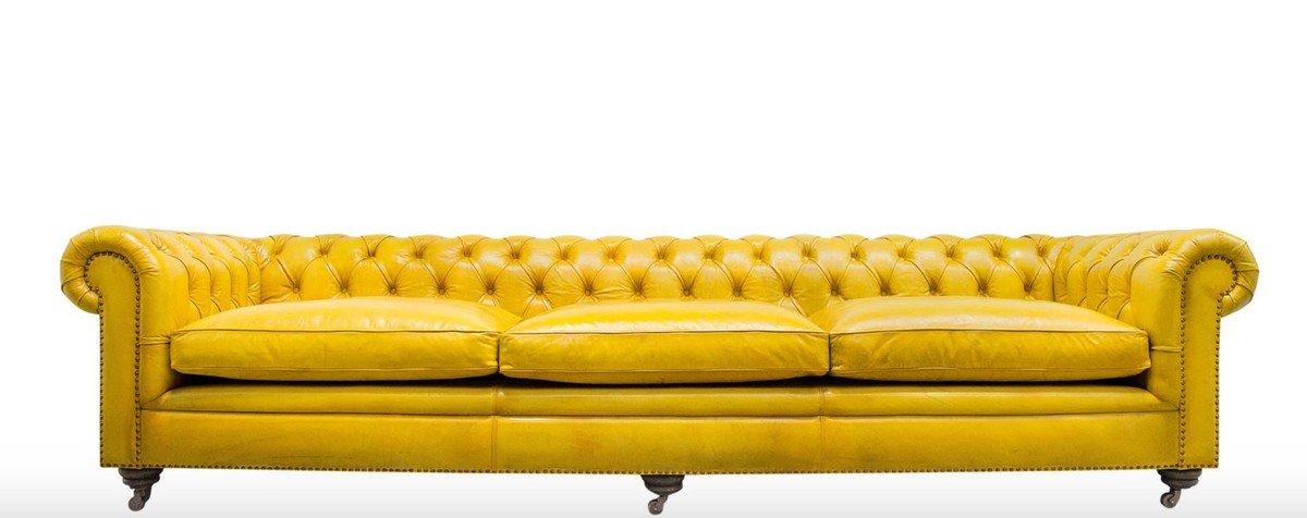 Casa-Padrino sofá Chesterfield 3 plazas de Lujo Amarillo 320 ...