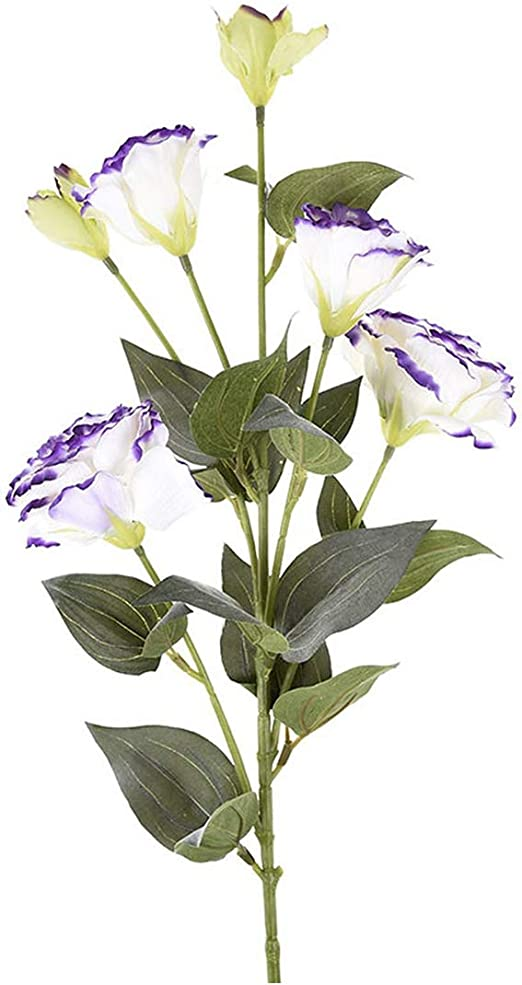 Amazon Com 6 Heads Artificial Flower Fake Eustoma Grandiflorum Lisianthus Decorative Silk Flowers Christmas Wedding Party Home Decoration P30 Purple Edg L Home Kitchen