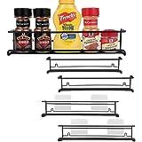 URFORESTIC Spice Rack Organizer for Cabinet, Door Mount, or Wall Mounted - Set of 4 Black Hanging Shelf for Spice Jars - Stor