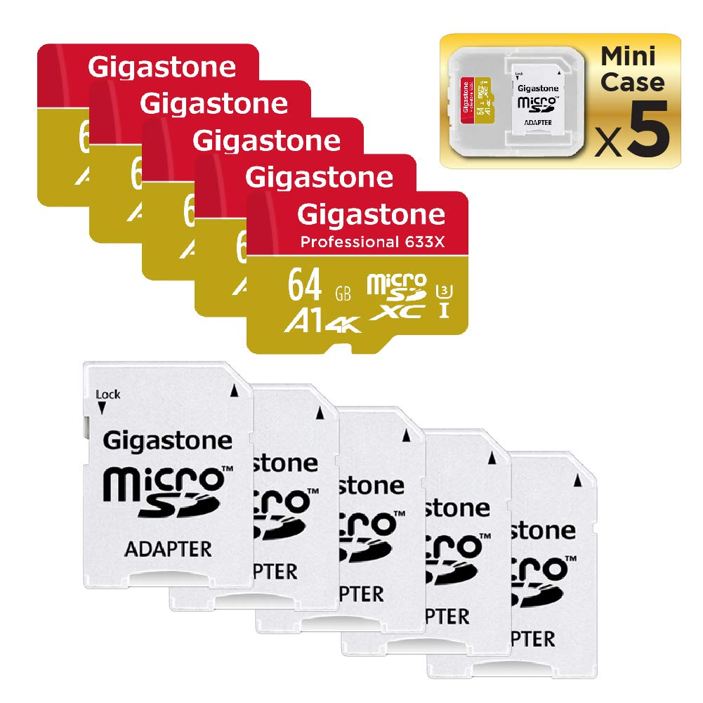 Gigastone Micro SD Card 64GB 5-Pack Micro SDXC Memory Card A1 4K UHS-I U3 C10 with Mini Case and MicroSD to SD Adapter High Speed Memory Card Class 10 4K Ultra HD Video Nintendo Gopro Camera Samsung