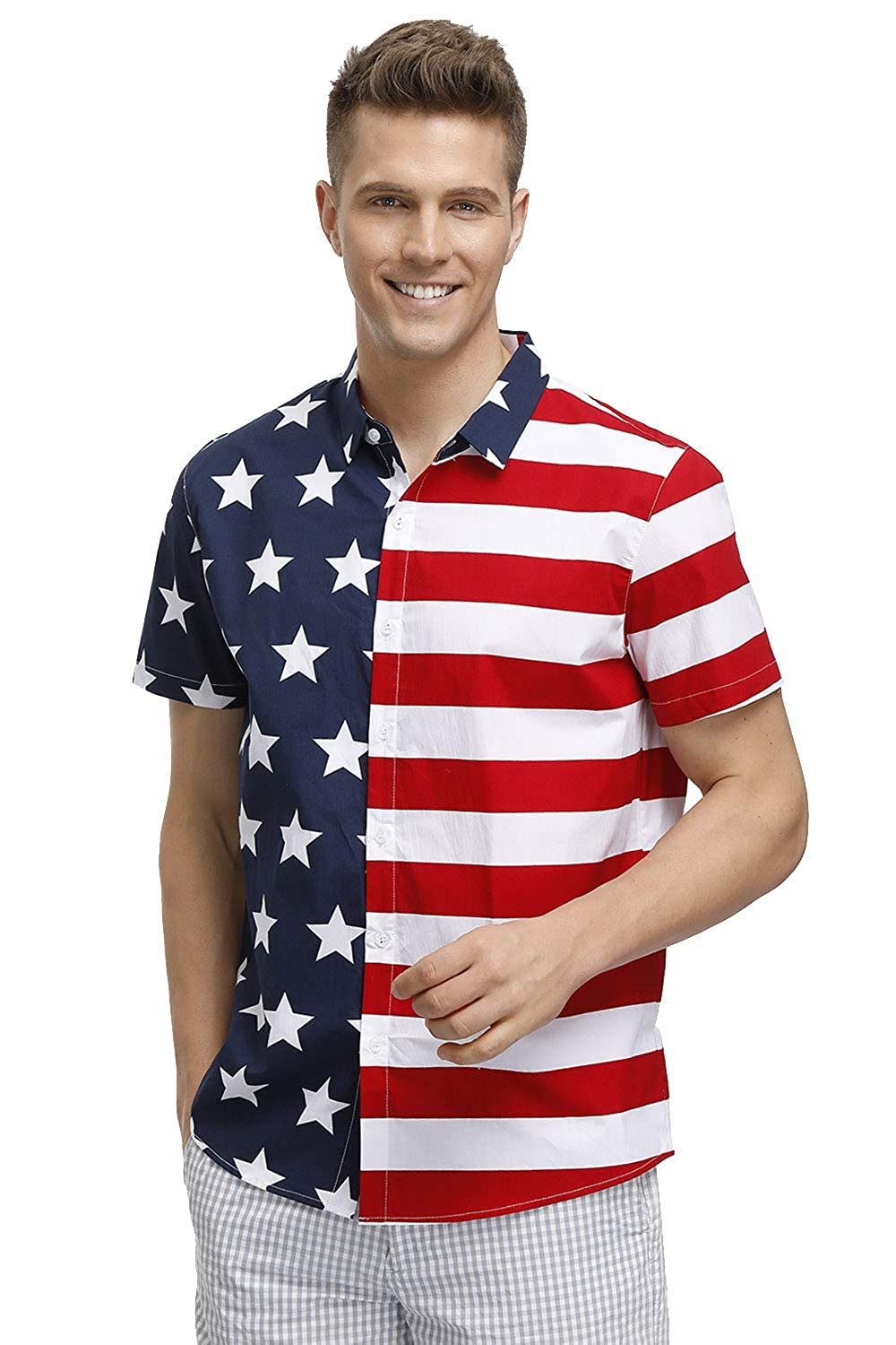 Arvilhill Mens July 4th American Flag Patriotic Button Down Short Sleeve Shirt