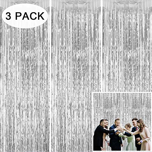 Tifeson Foil Fringe Curtains Backdrop Silver, 3 Pack 3.2 x 8.3 ft Tinsel Metallic Fringe Door Curtain for Happy New Year Party Decorations, Birthday Bachelorette Bridal Shower Baby Shower Party Wall Decor (New Hanging Curtains)