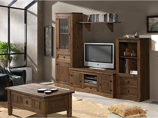 MUEBLES DELUXE ONLINE MEDITERRANEA Mueble Salón Rústico Modelo 1 - Salón Rústico Sin Mesa Centro: Amazon.es: Hogar