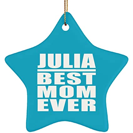 julia best mom ever star ornament turquoiseone size xmas christmas tree decor